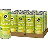 V8 Sparkling +Energy, Healthy Energy Drink, Natural Energy from Tea, Lemon Lime, 11.5 Ounce Can