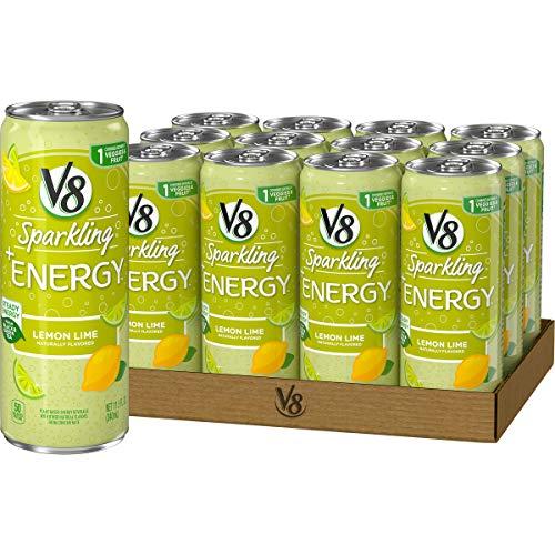V8 Sparkling Energy Healthy Energy Drink Natural Energy from Tea Lemon Lime 115 Ounce Can
