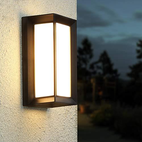 Combuh Apliques de Pared Modernos 10W, LED 3000K Aplique Pared Exterior, Impermeable IP65 Lámpara de Pared Moderna 1000lm Iluminación para Balcón, Pasillo, Corredor,Baño,Jardín,Porche,Camino,Patio