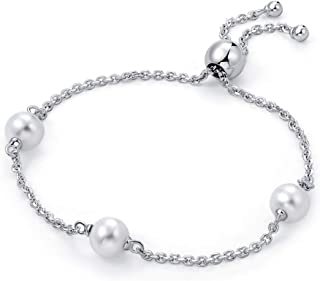 MOLAH Rhodium Plated 925 Silver Cultured Freshwater Pearl Bolo Adjustable Bracelet