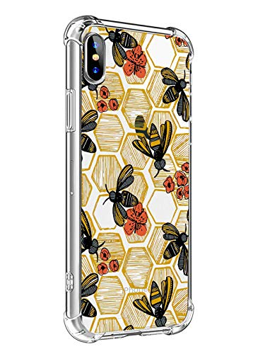 MAYCARI for iPhone XR Case Bee Phone Case, Cute Animal Design Soft & Flexible TPU Shockproof Transparent Bumper Protective Cover Case