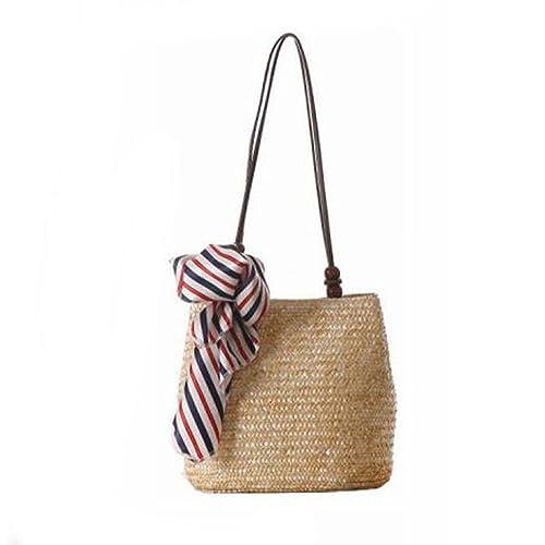 Womens Bucket Straw Bag Woven Crossbody Purse Shoulder Handbag with Scarves Beach Bag