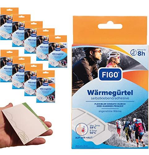 10 Stück Figo 8h Wärmepflaster Wärmegürtel Wärmepad Wellnesspflaster Wärme 28,5 x 9cm + varivendo Notizblock