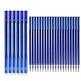 Boligrafos Borrables, Bolígrafos de Gel Azul Punta 0.5 mm, 6 Pcs Bolis Borrables y 20pcs Recambios de Bolígrafo con Goma de Borrar para Escuela Oficina Hogar