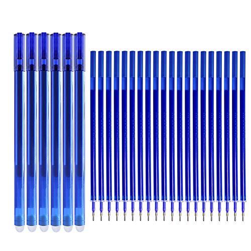 Boligrafos Borrables, Bolígrafos de Gel Azul Punta 0.5 mm, 6 Pcs Bolis Borrables y 20pcs Recambios de Bolígrafo con Goma de Borrar para Escuela Oficina Hogar ✅