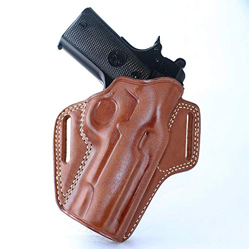 MASC Premium The Ultimate Leather Pancake OWB Belt Holster Fits Browning 1911 380 Black Label 380 ACP W/Out Rail 4.25''BBL, Right Hand Draw, Brown Color #1347#