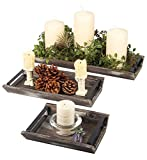 J JACKCUBE DESIGN Rustic Wood Decorative Tray with Handles Set of 3, Serving Trays Wooden Platter Centerpieces for Coffee Table Dining Room Kitchen - MK541A