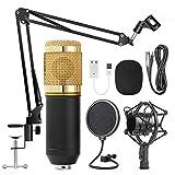 Condensador de Audio Micrófono de Estudio de 3.5 mm con grabación por Cable Vocal KTV Micrófono de Karaoke Set Mic W/Soporte de computadora,A