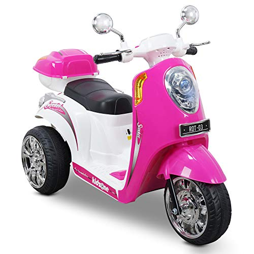 motorcycle toy for kids Kidzone Ride On Motorcycle Toy for Toddlers Aged 3+ Years - 6V Battery-Powered 3-Wheel Power Scooter with Music, Headlight, Horn, Storage Trunk, Key Switch - for Boys & Girls, Pink