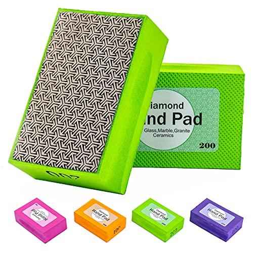 CAPTOK Diamond Sanding Pads Electroplated Diamond Polishing Pads for Concrete Glass Tiles Sanding Block 4pcs/set Grit 60#, 100#, 200#, 400#