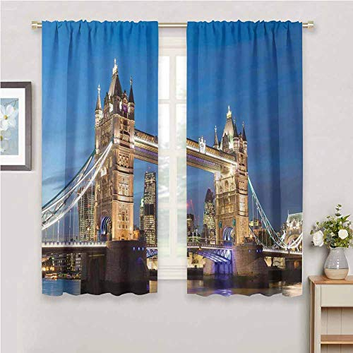 DIMICA Cloth Curtain London Scenery of Landmark Tower Bridge at Twilight with Skyscrapers England UK Image Print Sliding Soundproof Curtains W63 x L63 Inch Blue and Ivory