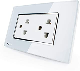 LIVOLO White Receptacle Standard Duplex Electrical Wall Outlet(15A),Tempered Glass Panel, AC 110~220V, Wall Powerpoints Without Plug, C3C2CUS-81