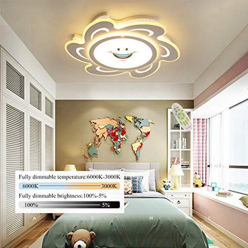LED Deckenleuchte Kinderlampe Moderne Deckenlampe Kreative Sonne Form Design Warm Kinderzimmer Beleuchtung Cartoon Acryl Lampenschirm Junge Mädchen Schlafzimmerlampe Hängelampe,Dimmable,52cm/36W