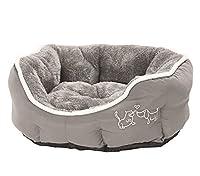 ovales Kuschelbett für Hunde und Katzen Liegefläche und Innenrand mit Plüsch für absolutes Kuschelfeeling Kissen herausnehmbar, rutschfester Boden niedliche Einstickung am Außenrand vom Hundebett aus Polyester, maschinenwaschbar