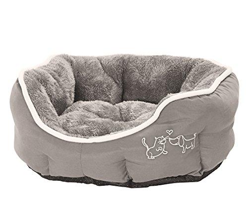 Dehner Hunde- und Katzenbett Sammy, oval, ca. 45 x 40 x 14 cm, Polyester, grau