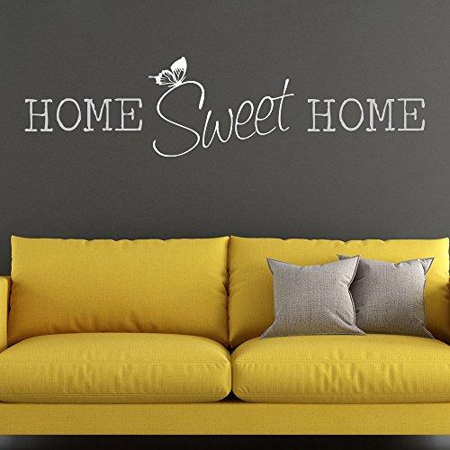KLEBEHELD® Wandtattoo HOME Sweet HOME zweifarbig   Spruch mit Schmetterling   Farbe schwarz, Größe 80x20cm