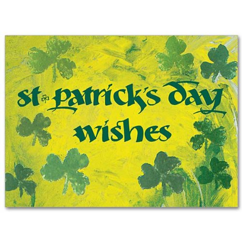 Saint Patrick's Day Relgious Greeting Card with Embossed Envelope Free Cross Bookmark