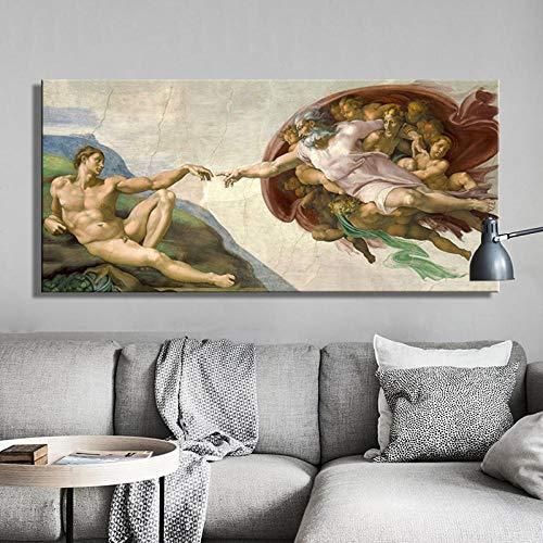 Sixtijnse kapel plafond fresco van Michelangelo, Creatie van Adam Poster Print op Canvas Wall Art Picture voor Woonkamer Decorf 70x140cm geen Frame