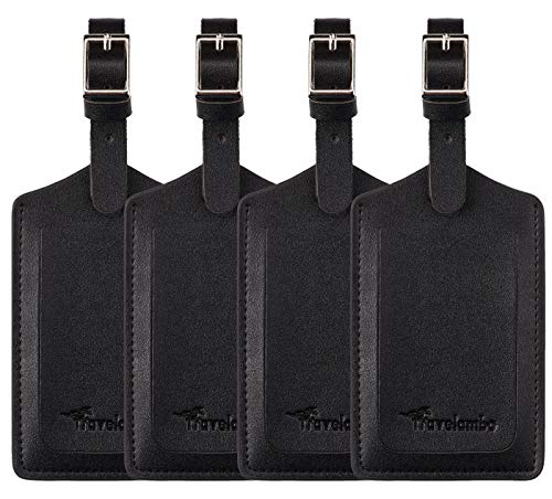 4 Pack Leather Luggage Travel Bag Tags by Travelambo Black