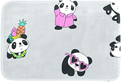 EGGDIOQ Doormats Panda in Clothes Custom Print Bathroom Mat Waterproof Fabric Kitchen Entrance Rug, 23.6 x 15.7in