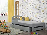 Children's Beds Home - Cama individual - Kiko Para Niños Niños Niño Junior - Tamaño 180x80, Color Gris, Cajón No, Colchón 12 cm de Alta Resistencia Látex