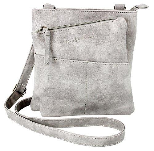 Jennifer Jones Taschen Damen Damentasche Handtasche Schultertasche Umhängetasche Tasche klein Crossbody Bag hellgrau (3106)