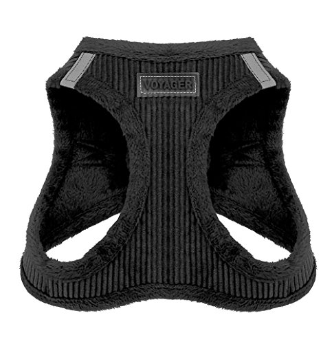 Voyager Step-in Plush Dog Harness - Soft Plush, Step in Vest Harness for Small and Medium Dogs by Best Pet Supplies - Black Corduroy, Medium (Chest: 16' - 18')
