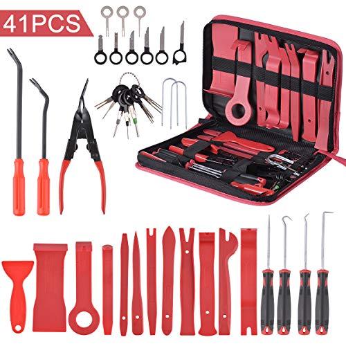 Hivexagon 41 stück Demontage Werkzeug Auto, Zierleistenkeile Verkleidungs Werkzeug, Innen-Verkleidung Ausbau, Verschiede Arten enthältet, Zubehör Befestigung Clips Removal Reparatur Werkzeuge
