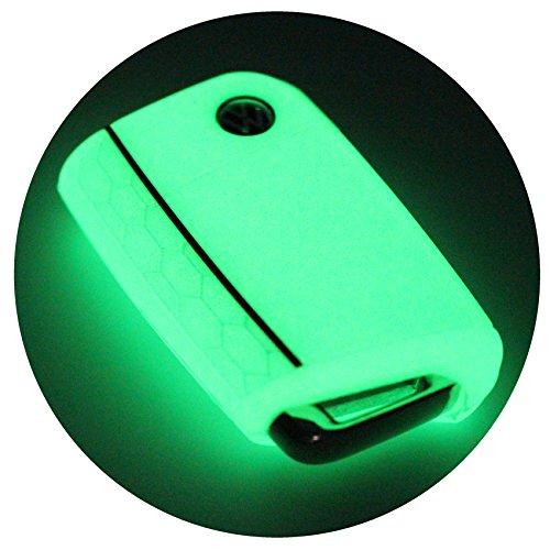 Schlüssel Hülle VB für 3 Tasten Auto Schlüssel Silikon Cover Schlüsselhülle Etui Schutzhülle (Nachtleuchtend)