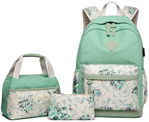 Abshoo Lightweight Canvas Floral Teen Backpacks for Girls School Backpack with Lunch Bag (9G4 Green)
