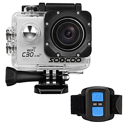 MDTEK@ 16GB TF Card+Original for SOOCOO C30R Action Camera 4K WiFi HD Waterproof DV Camcorder 12MP 170 Wide Angle with 2.4G Wrist Remote Control(Sliver)