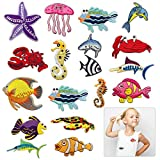 Cieovo Assorted 18pcs Marine Creatures Iron on Patches Shark Whale Crabs Seahorses Starfish Embroidered Patches Appliques Decorative Repair Patches DIY Sew on Motif