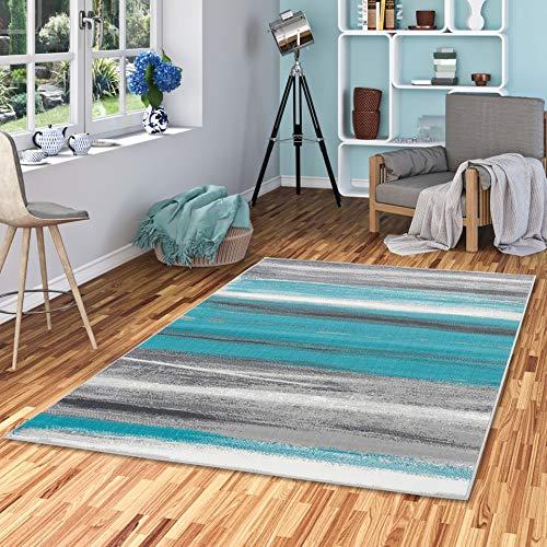 Pergamon Designer Teppich Samba Türkis Grau Stripes in 5 Größen