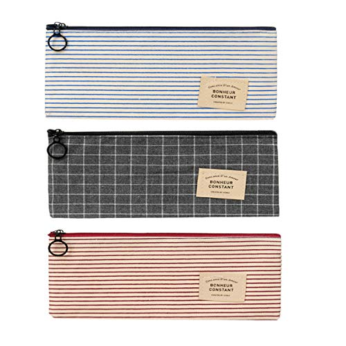OBTANIM Pencil Case Pen Pouch Cosmetic Bag Students Stationery Zipper Bag for Office and School Supplies, Set of 3