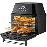 COSTWAY 8-in-1 Air Fryer Toaster Oven, Multifunctional Programmable 19QT Cooking Oven with 10 Accessories, Rotisserie, 8 Pre-set Recipe, LED Digital Touchscreen, Viewing Window, 1800W