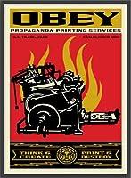 ポスター オベイ Print and Destroy/Shepard Fairey 手書きサイン入り 額装品 ウッドベーシックフレーム(ブラック)
