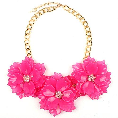 Claire Jin Collar Flores Joyería Mujer Joyas Moda Resina Cristal Verano Playa Flor Collares Mujeres Joven Accesorios 11 Colores (Fucsia)