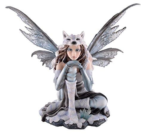 Elfenfigur - Lupa im Eis mit Wolfspelz - Fee Elfe Figur