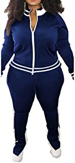 Women's Plus Size Jogging Suits Tracksuits Two Piece Stripe Cold Shoulder Sweatshirt & Long Pants Sweat Suits Sets