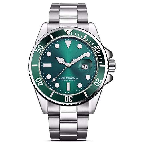 REIUYTHO Relojes mecánicos for los hombres del cronógrafo de acero inoxidable resistente al agua Fecha de cuarzo de moda negocio de relojes de pulsera analógico de caballero minimalista relojes correa