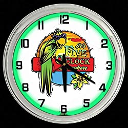 ELG Companies LLC 16 It's 5 O'Clock Somewhere Green Neon Wall Clock Garage Man Cave