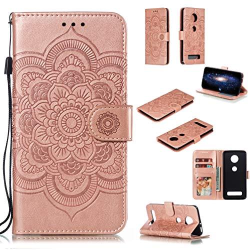 LingDan Schutzhülle für Motorola Moto Z4 Play (6,22 Zoll) PU Lederhülle Flip Cover Präge Mandala Blumen Muster mit Ständer Magnetverschluss Kartensteckplatz Brieftasche Handyhülle, Roségold