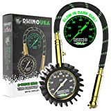 Rhino USA Heavy Duty Tire Pressure Gauge - Certified ANSI B40.1 Accurate, Large 2' Easy Read Glow Dial, Solid Brass Hardware, Best Any Car, Truck, Motorcycle, RV (75psi w/Hose)