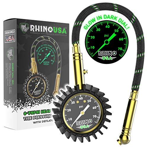 "Rhino USA Heavy Duty Tire Pressure Gauge - Certified ANSI B40.1 Accurate, Large 2"" Easy Read Glow Dial, Solid Brass Hardware, Best Any Car, Truck, Motorcycle, RV (75psi w/Hose)"