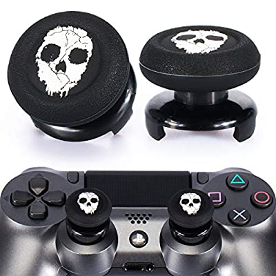 Playrealm FPS Thumbstick Extender & Printing Rubber Silicone Grip Cover 2 Sets for PS5 Dualsenese & PS4 Controller (Ghost)