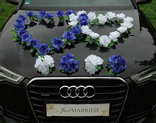 DOPPEL Herz Auto Schmuck Braut Paar Rose Deko Dekoration Autoschmuck Hochzeit Car Auto Wedding Deko Ratan (Blau/Reinweiß)