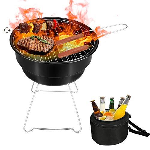 Zwini Picknick-Grill mit Kühltasche, tragbarer Camping-Grill, Mini-Grill für unterwegs, Schwarz