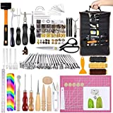 Leather Craft Kits, Leather Tool Set with Manual, Leather Craft Tool with Groover, Leather Stamping Tools, Waxed Thread, Awls for Leather Working, Sewing, Leather Craft Making