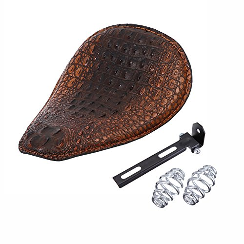 HANSWD 12' Heavy Duty Brown Gator Emboss Leather Driver Solo Seat with Chrome Barrel Spring For Sportster Bobber Chopper