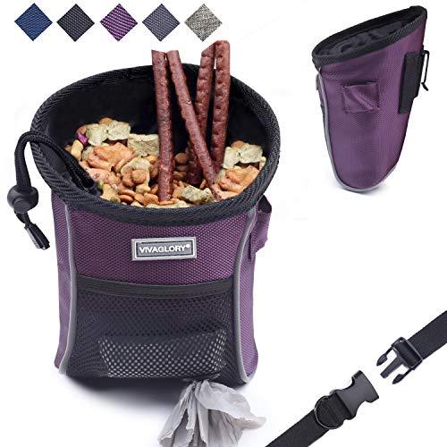 Vivaglory Dog Treat Training Pouch, Lightweight Dog Treat Bag for Training with Detachable Waistband, Belt Clip, Poop Bag Dispenser, Large Enough to Carry Treats, Kibbles, Pet Toys, Violet